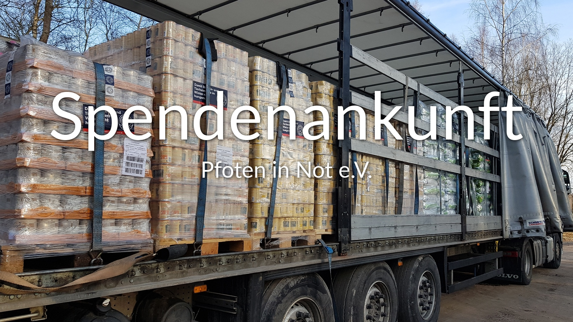 Pfoten in Not e.V.-Futterspendenankunft-februar-2020-Spenden-Marathon-2019-Lettland-VIDEO