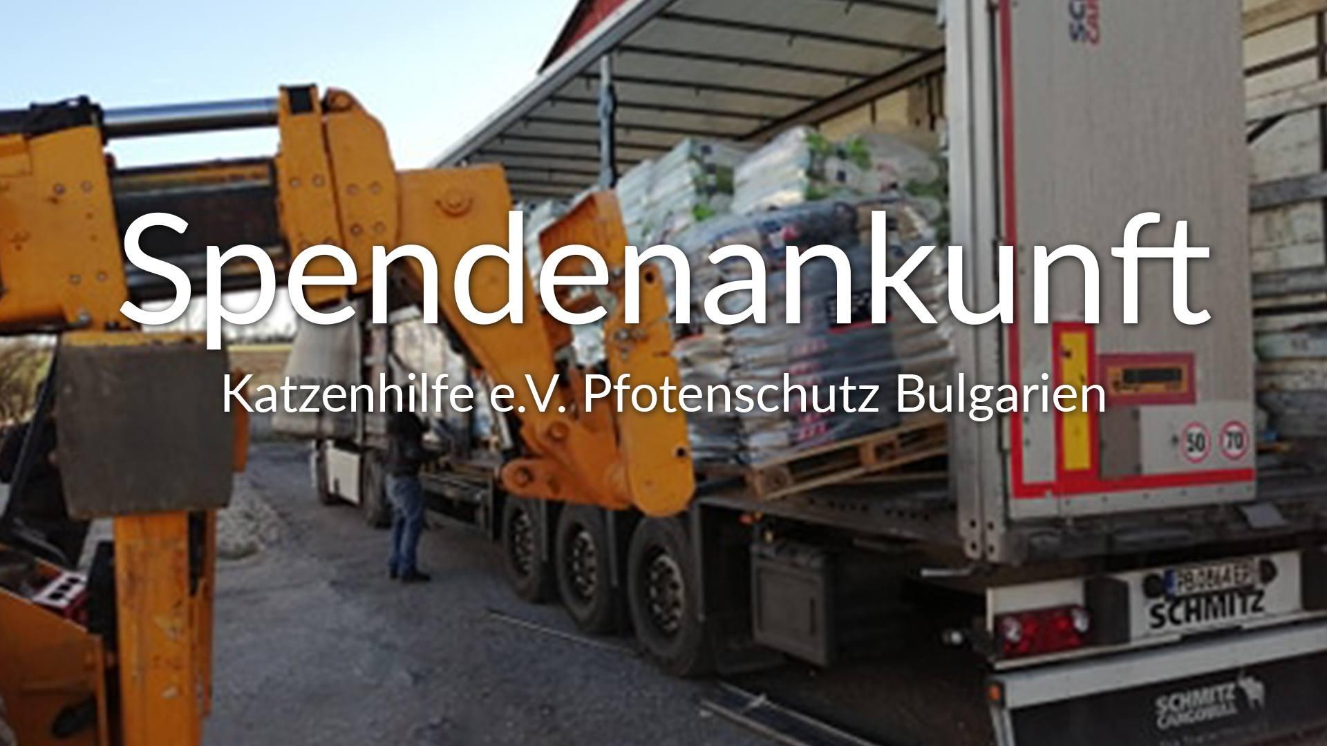 Katzenhilfe e.V. Pfotenschutz Bulgarien-Futterspendenankunft-maerz-2020-Spenden-Marathon-2019-Bulgarien-VIDEO
